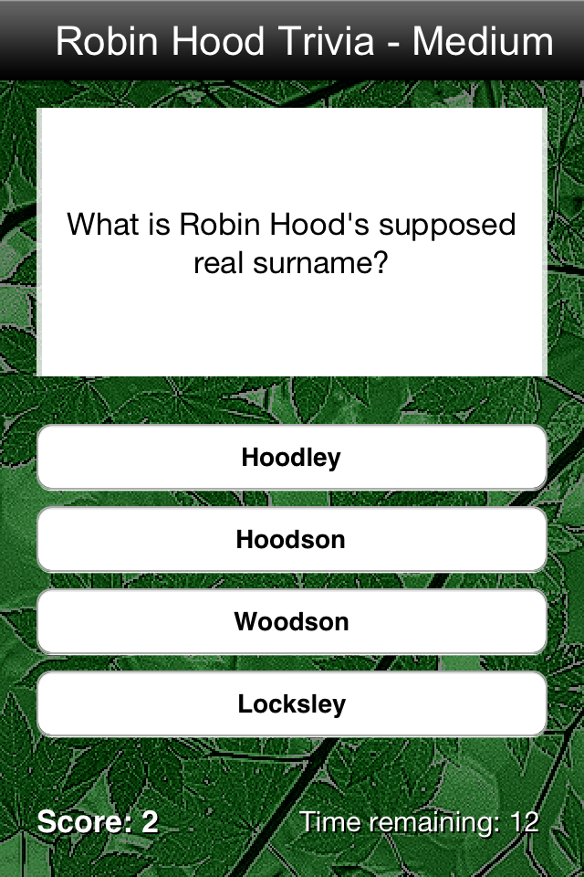 Screenshot Robin Hood Trivia